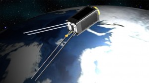 Figure 1: Computer model of the ZA‐AeroSat in its orbit