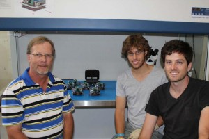 Figure 4: The QB50 team of Prof Herman Steyn and his ESL engineers, Jako Gerber and Mike‐Alec Kearney