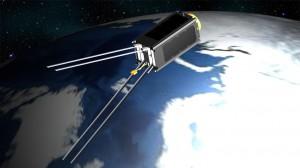 Figure 1: Computer model of the ZA‐AeroSat in its orbit