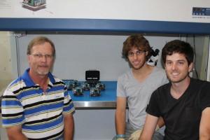 Figure 4: The QB50 team of Prof Herman Steyn and his ESL engineers, Jako Gerber and Mike‐Alec Kearney